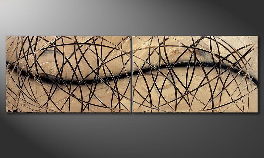 Acrylic painting Snow Tempest 200x60x2cm