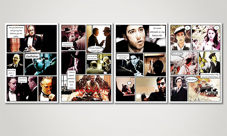 Adventurous art print Godfather (Part A) 160x60x2cm
