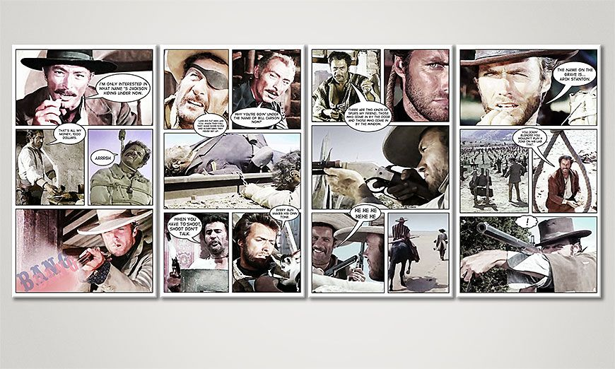 Art print Good, the Bad and the Ugly 160x70x2cm