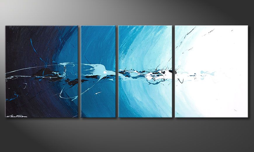Blue painting Water Splash 130x50x2cm