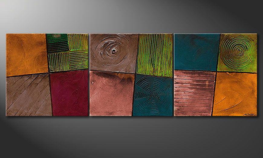 Canvas painting Facets of Life 210x70x2cm