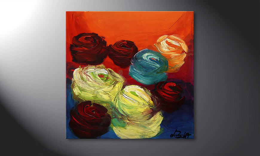 Colors of Roses 70x70x2cm Hand-painted painting