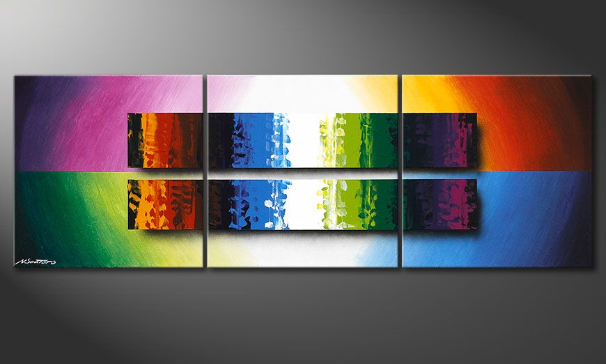 Colourful painting Expression of Colours 150x50x2cm