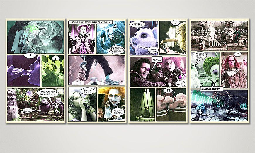 Fantasy print Alice im Wunderland 160x70x2cm
