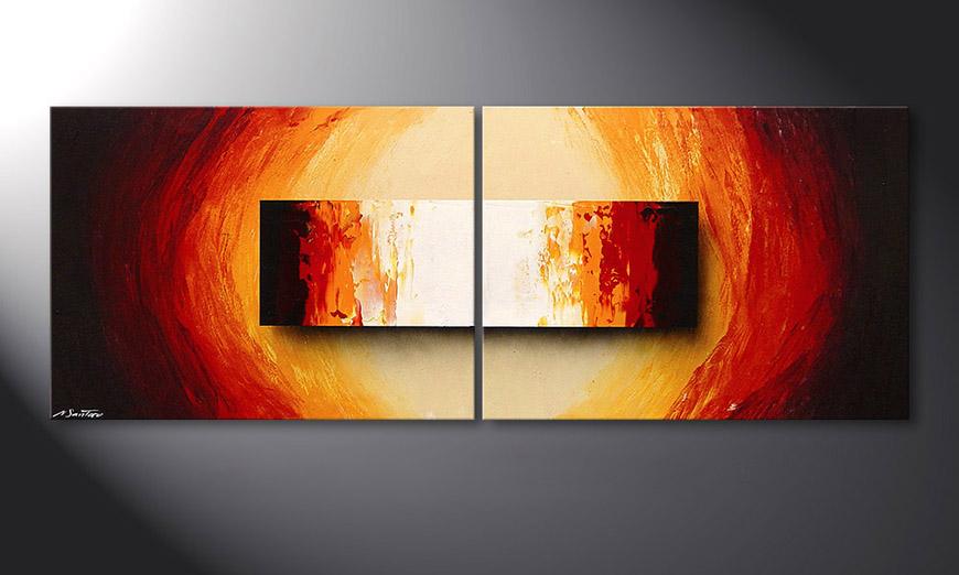 Framed Painting Liquid Fire 160x60x2cm