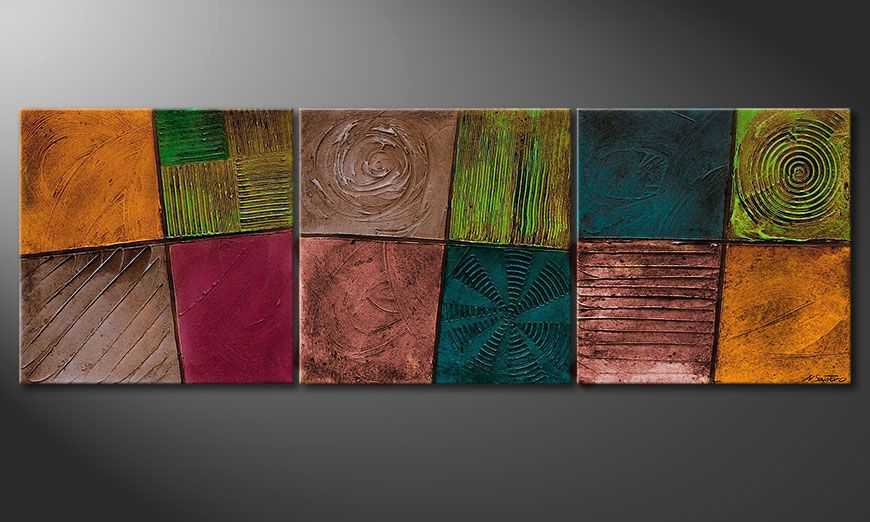 Framed painting Facets of Life 150x50x2cm