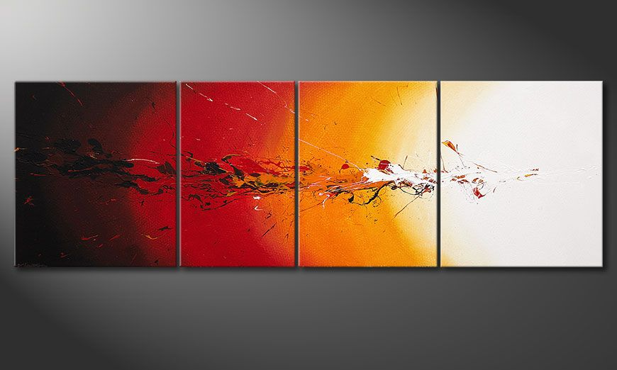 Framed painting Fiery Splash 250x80x2cm