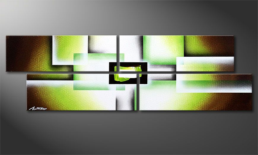 Framed painting Green Spirit 130x40x2cm