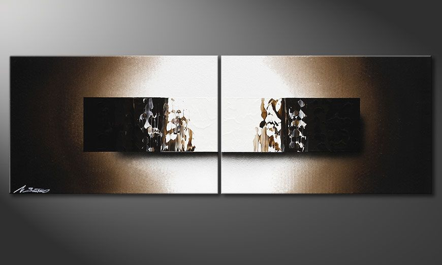 Framed painting Light Rain 120x40x2cm