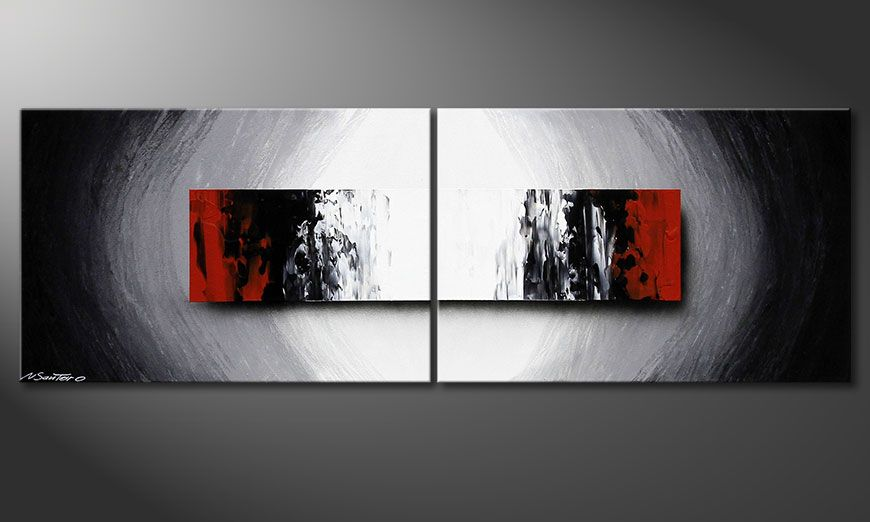 Hand made acrylic painting Deep Space 120x40x2cm