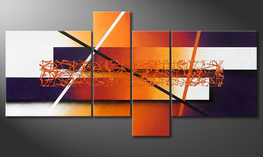 Hand-painted painting Afterglowing Memories 130x65x2cm