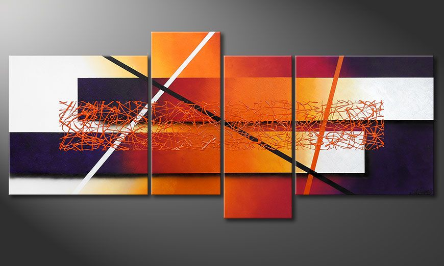 Hand-painted painting Afterglowing Memories 180x80x2cm