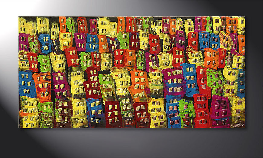 Hand-painted painting Beauty of a City in 120x60x2cm