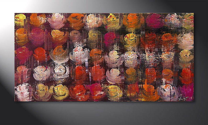 Hand-painted painting Colored Roses 120x60x2cm