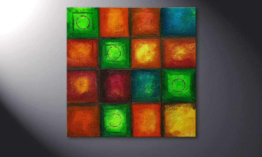 Hand-painted painting Colorful Cubes 80x80x2cm