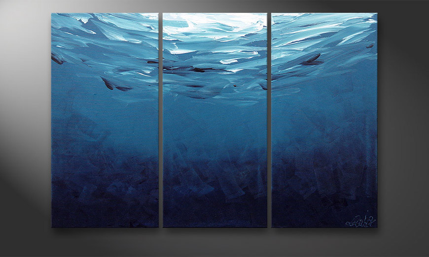 Hand-painted painting Deep Blue 120x80x2cm