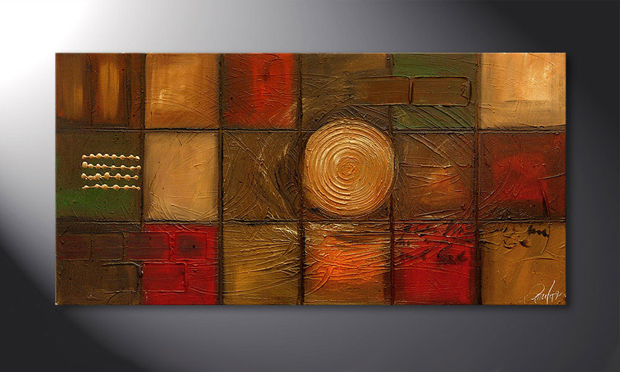 Hand-painted painting Golden Center 120x60x2cm