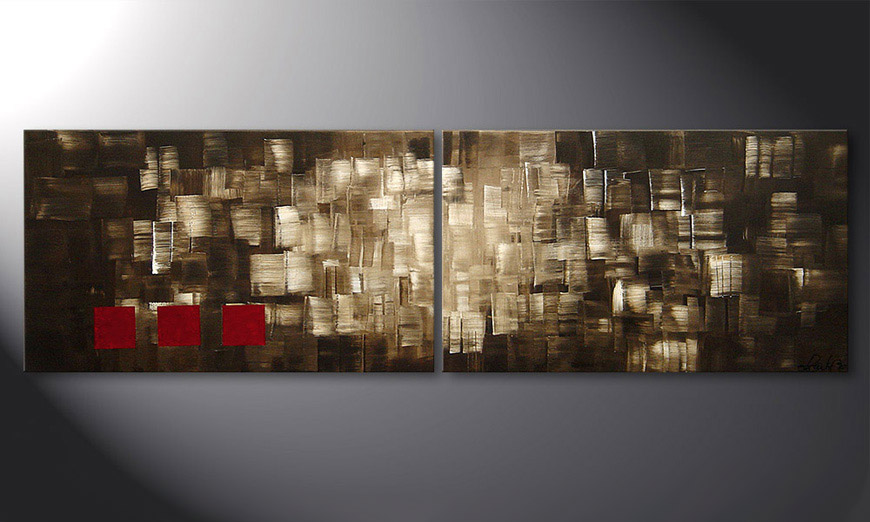 Hand-painted painting Play of Light 200x60x2cm