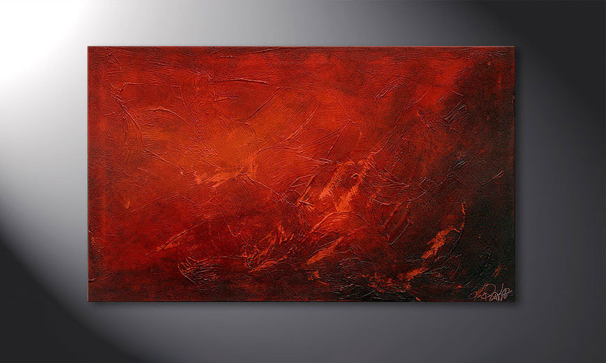 Hand-painted painting Red 100x60x2cm
