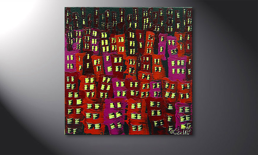 Hand-painted painting Red City 50x50x2cm