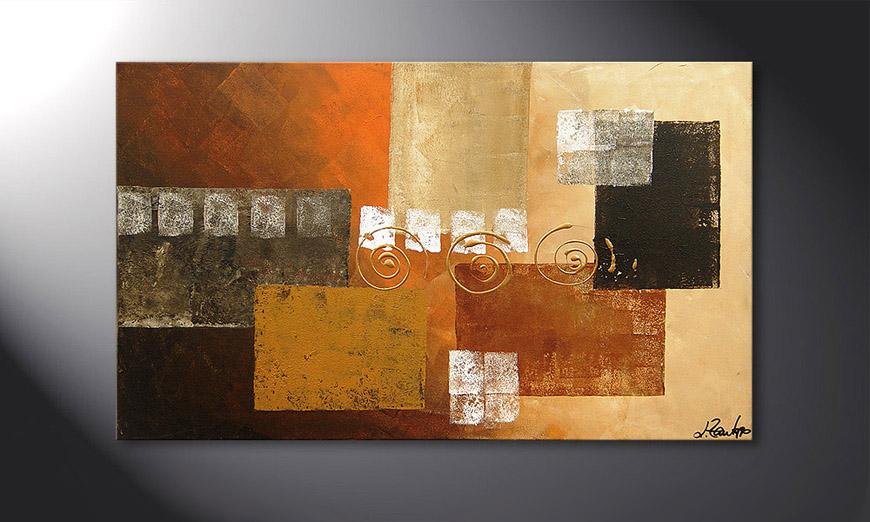 Hand-painted painting Sunny Swirl 100x60x2cm