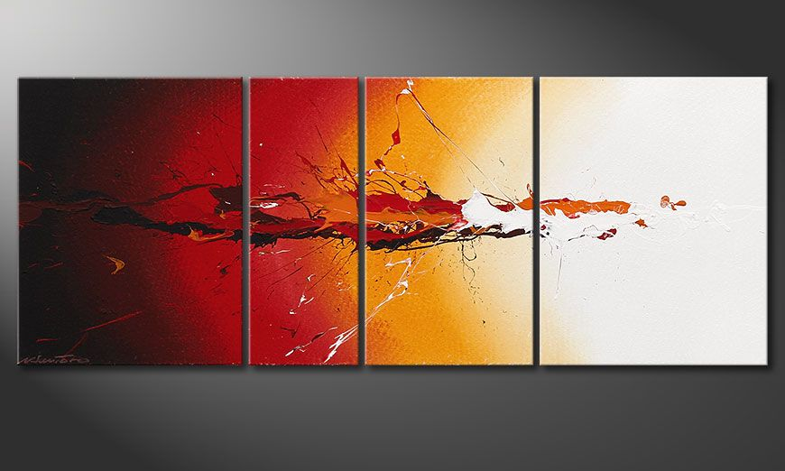 Hand painted picture Fiery Splash 130x50x2cm