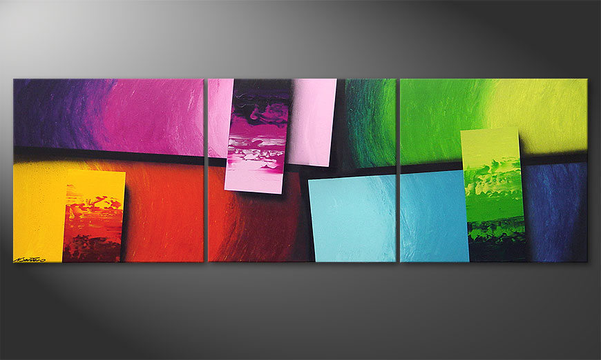 Living room art Squaring of Colors 210x70x2cm
