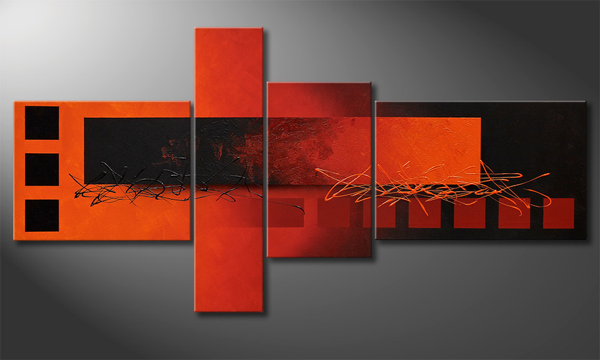 Living room painting Fiery Emotions 160x80x2cm