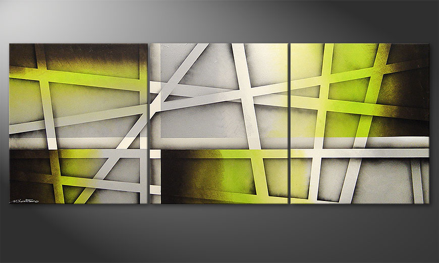 Living room painting Vivid Green 180x70x2cm