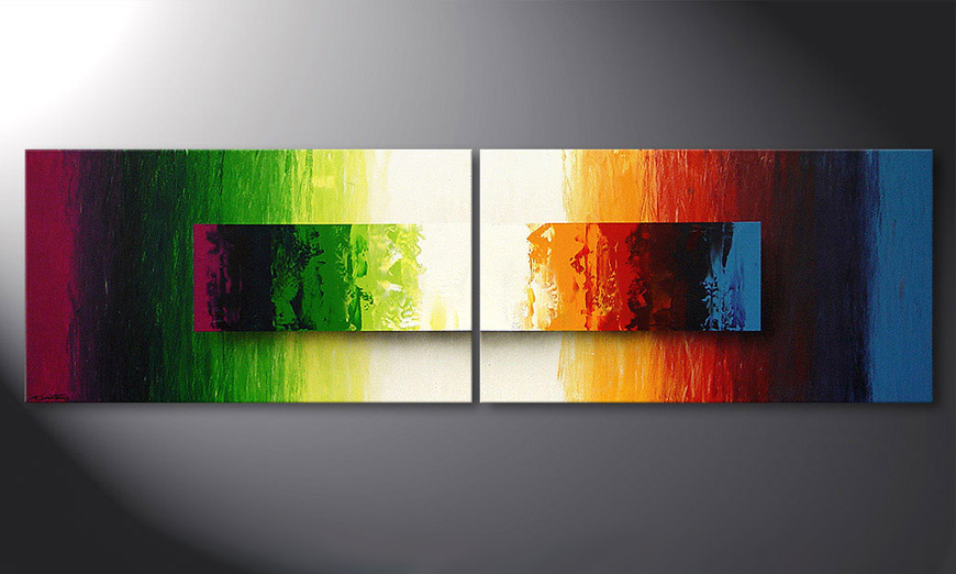 Modern Painting Battle of Colours 200x60x2cm