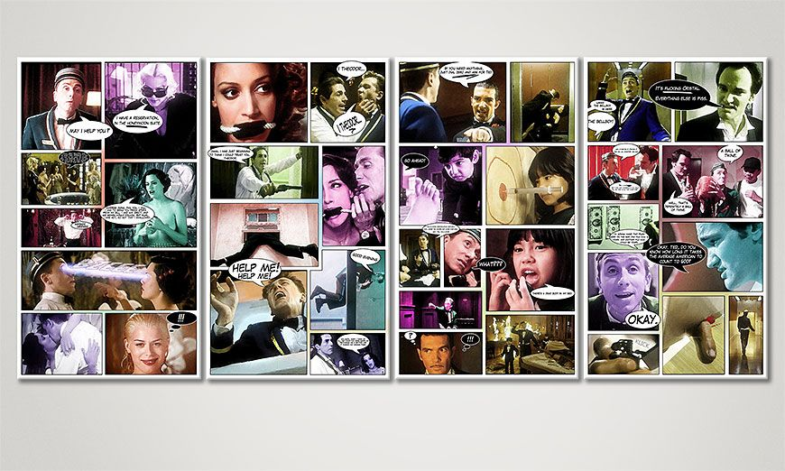 Modern art print Four Rooms 160x70x2cm