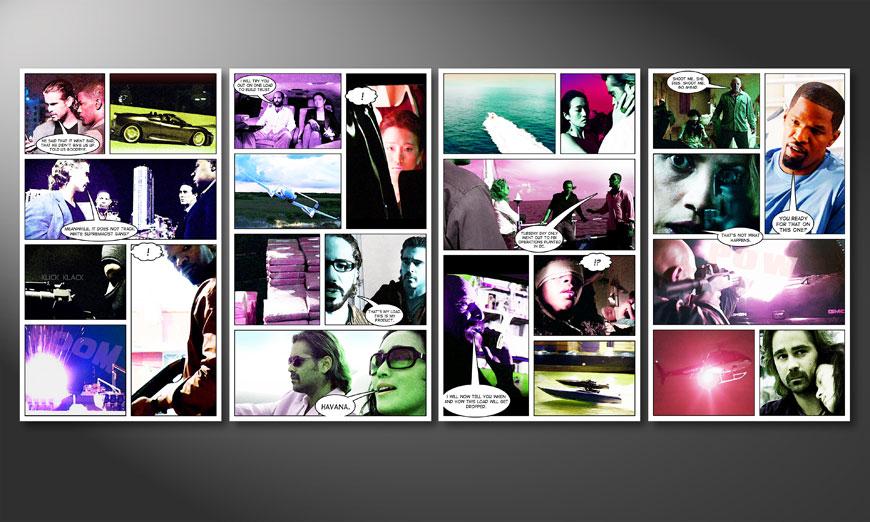 Modern art print Miami Vice 160x70x2cm