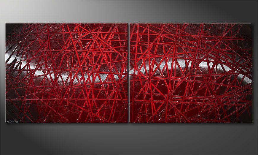 Modern painting Red Push 200x80x2cm