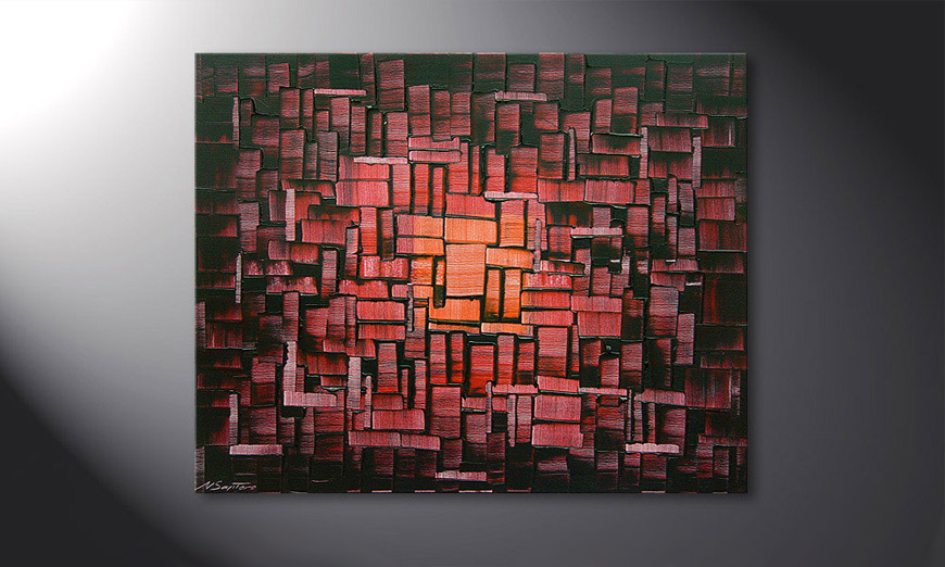 Painting Cubes of Glow in 100x80x2cm