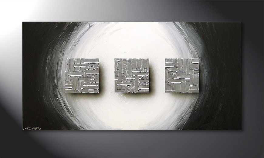 Painting Cubes of Silver 120x60x2cm