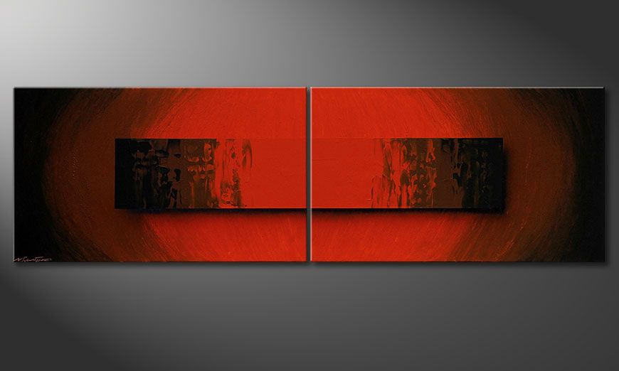 Painting Glowing Red 200x60x2cm
