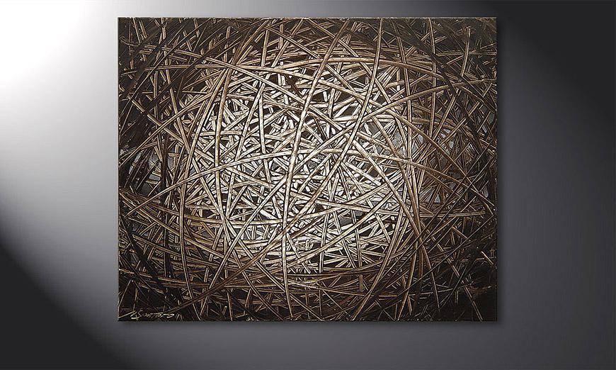 Painting Moon Stripes 100x80x2cm