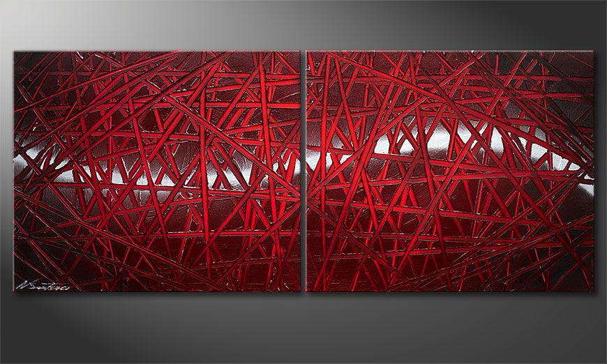 Painting modern Red Push 120x50x2cm