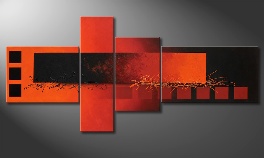 XXL painting Fiery Emotions 220x100x2cm
