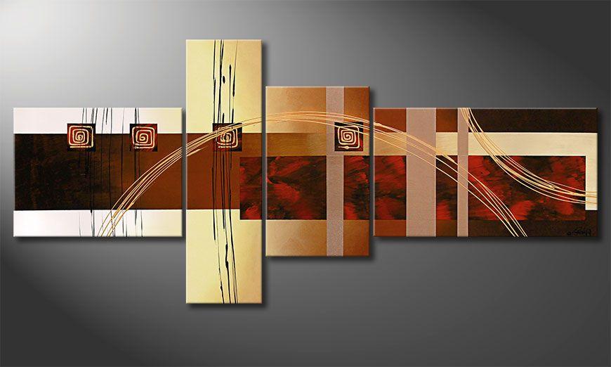 XXL painting Golden Ways 220x100x2cm