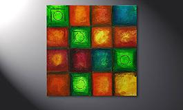 Hand-painted painting 'Colorful Cubes' 80x80cm