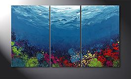 Hand-painted painting 'Coral Garden' 140x80cm