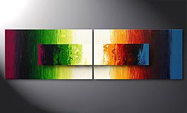 Modern Painting 'Battle of Colours' 200x60cm