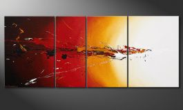 Modern Painting 'Fiery Splash' 170x70cm
