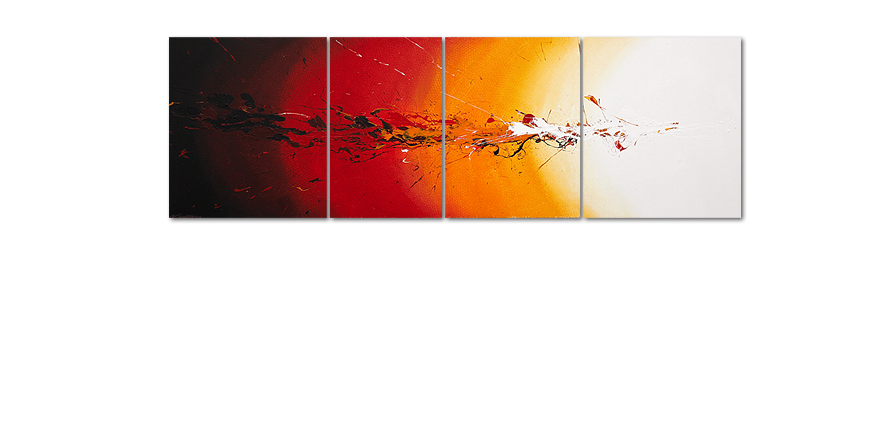 Framed painting Fiery Splash 250x80cm