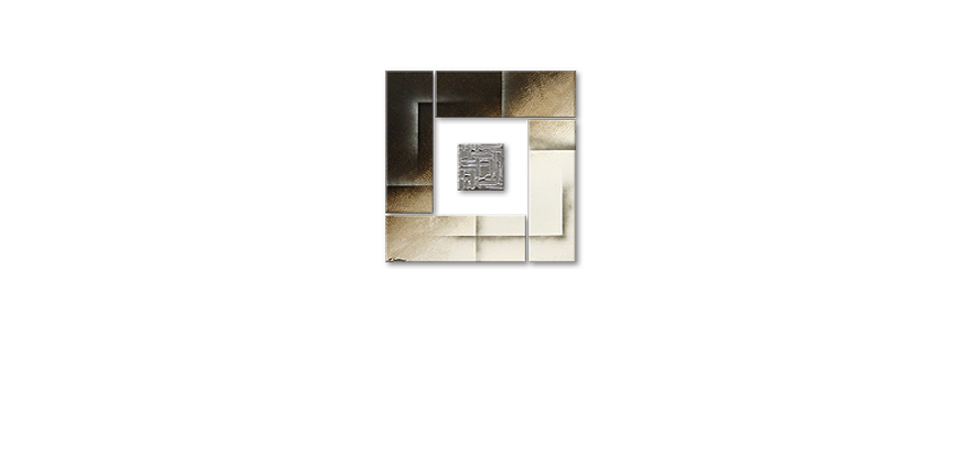 Painting Silver Cube in 80x80cm