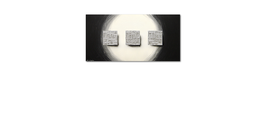 XXL painting Cubes of Silver 140x70cm