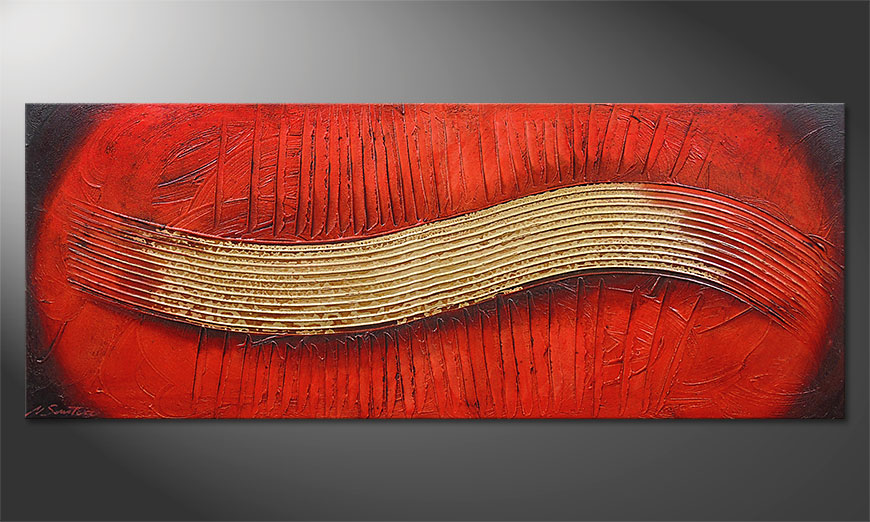 Hand-painted painting Golden Wing 150x60