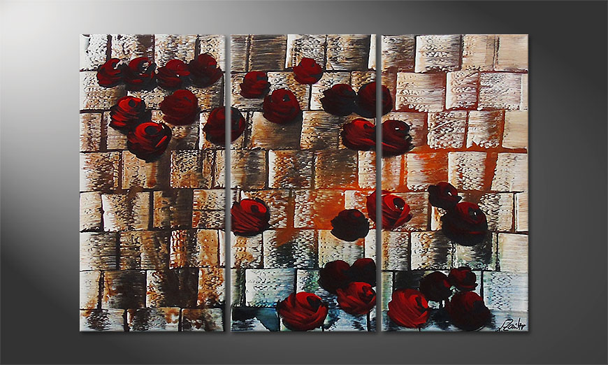 Hand-painted painting Storm of Roses 120x80x2cm