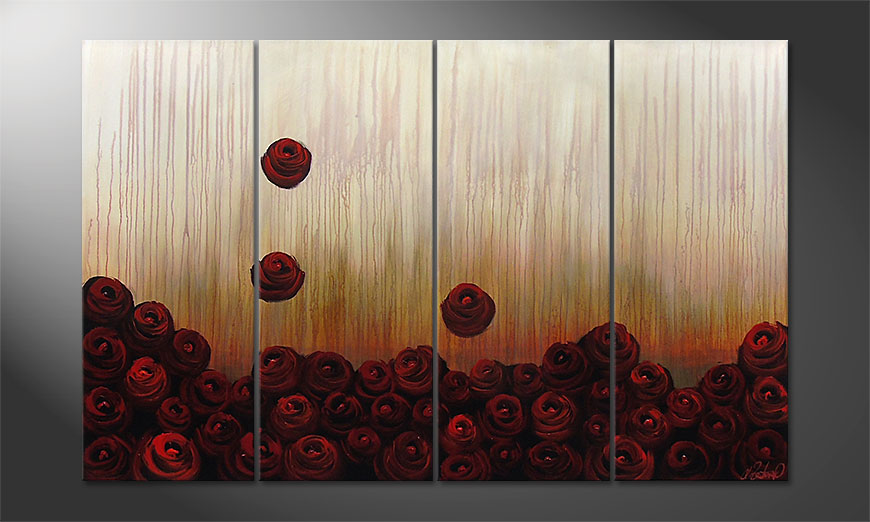 Hand-painted paintingBed of Roses 160x100x2cm